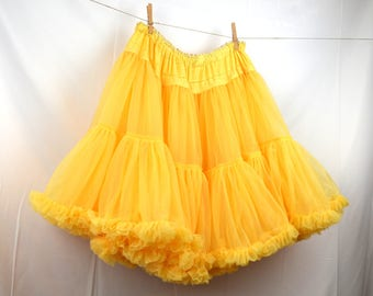 Vintage Yellow Crinoline Puffy Petticoat Tutu