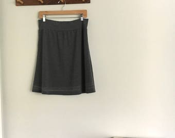 Jersey Line Skirt, Size Extra Large, Heather Grey, Cotton Jersey, aline, modern style- ready to ship