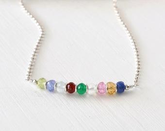 Custom Grandma Necklace / Grandmother Birthstone Necklace / Multi Birthstone Necklace / Mothers Necklace / 16 Inch Sterling Silver