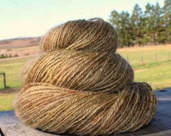 Handspun Yarn CVM Wool/Alpaca/Kid Mohair 2-ply fingering wt. natural taupe and brown with lime and moss green plus Free Pattern