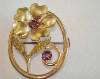 Amethyst Rhinestone Gold Tone Flower Brooch