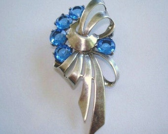 Blue Stone Sterling Silver  Bow Brooch