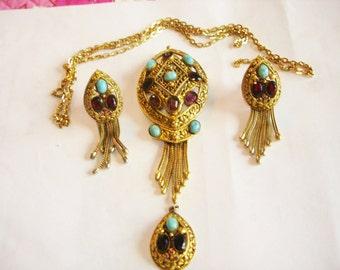 Vendome Egyptian Revival Vintage Jewelry  Multi Color Stone Leaf Flower Brooch Pendant Earrings