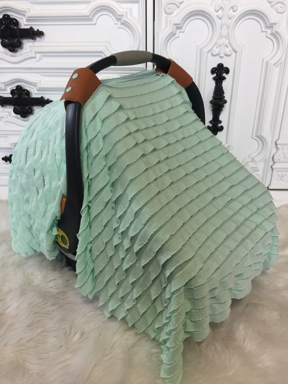 Car seat canopy , Car seat cover , Car seat tent , ooak , sheer mint ruffle , Leather N Lace Line