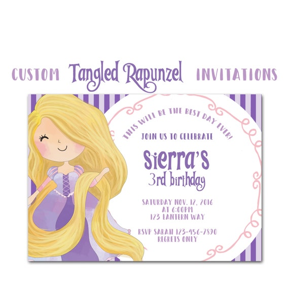 Rapunzel Inspired Party Invitation Tangled Custom Birthday Invites