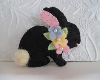 Easter Bunny Brooch Felt Flowers Wool Rabbit Felted Pin