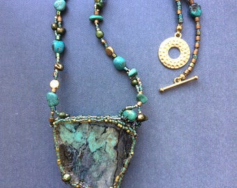 Peruvian Chrysocolla and Turquoise Necklace