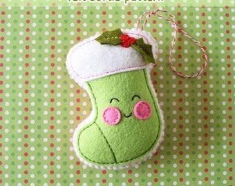 PDF Pattern - Christmas Stocking Felt Pattern, Kawaii Felt Ornament Pattern, Felt Softie Sewing Pattern, Felt Toy Pattern