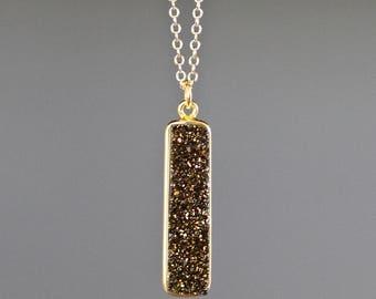 Druzy Pendant Necklace - Druzy Bar Necklace - Bronze Druzy - Druzy Quartz Jewelry - Vertical Bar Necklace - Layering Jewelry - Gift for Her