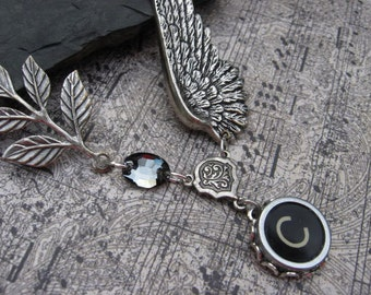 Typewriter Jewelry Letter C With Wings and Swarovski