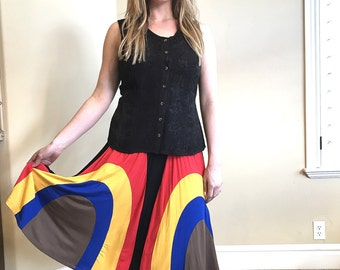 Multicolor Cloud Blue Brown Yellow Midi A-line Jersey Wave Skirt