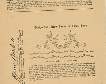 McCall Kaumagraph Transfer Pattern #725 - Design for Pillow Cases or Towel Ends