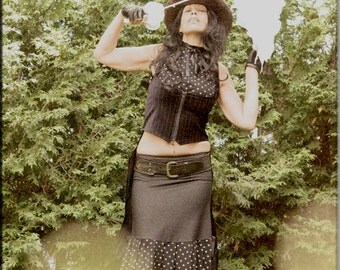 SALE - Skirt - Steampunk - Burning Man - Playa Wear - Knee Length - Denim Blue - Polka Dot Skirt - Bohemian Gypsy - Sexy - Size Small