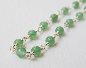 Green Aventurine Necklace - Sterling Silver Rosary Necklace Beaded Necklace beadwork Necklace Rosary Chain Aventurine Beads