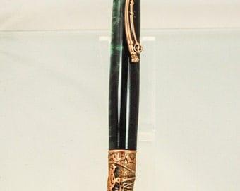 Fish-On Handmade Fly Fishing Themed Twist Ballpoint Pen, Copper Trim Green Jade Acrylic , ASH Woodshops Perfect Catch