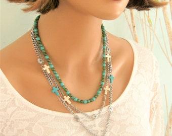Multi Strand Necklace, Cross Necklace, Beaded Necklace, Layered Turquoise Cross Necklace, Boho Necklace, Blue Beaded Necklace, Crosses, N889