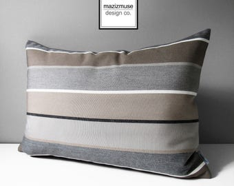 Grey & Brown Sunbrella Pillow Cover, Decorative Outdoor Pillow Cover, Modern and Gray White Stripes, Masculine Striped Cushion Cover