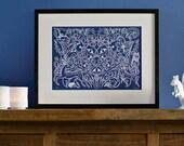 Forest Fauna - Limited edition, handmade silkscreen print (white on deep blue)