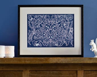 Forest Fauna - Limited edition, handmade silkscreen print (white on deep blue)