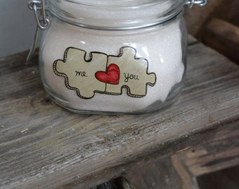 Hand Painted Storage Glass Jar wedding favor gift for lovers in wedding or anniversary Missing piece Puzzle