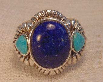 Sterling Lapis Turquoise Ring  Turquoise Lapis Ring Sterling Ring Statement Ring Turquoise Jewelry Lapis Jewelry Sz 8 Ring Sterling Size 8