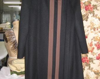Wool Black/Browm Trim Coat/Vintage 80's Forstman Wool Coat