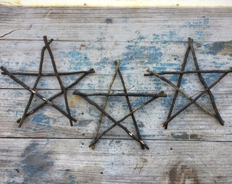 Vintage twig star wall hangings, five point star cottage chic rustic garden decor, primitive country decor, patio decor, wooden stars