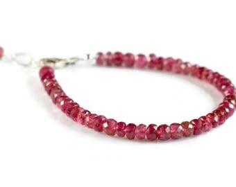 Pink tourmaline bracelet, gold filled ombre tourmaline bracelet, pink stacking bracelet