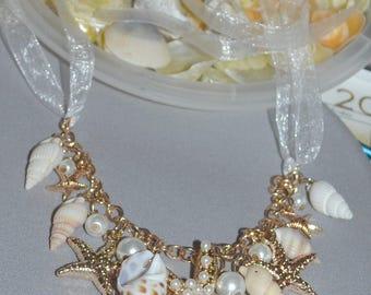 Bridal Seashell necklace,  mermaid jewelry, beach wedding  jewelry, starfish, seashell jewelry, bridesmaids jewelry, pearl starfish necklace