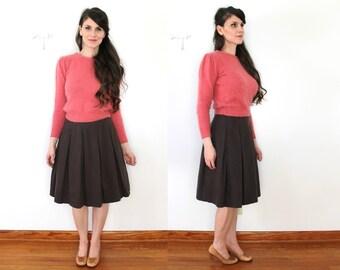 60s Brown Wool Skirt / 60s Skirt / 1960s High Waist Full Pleated Wool Skirt