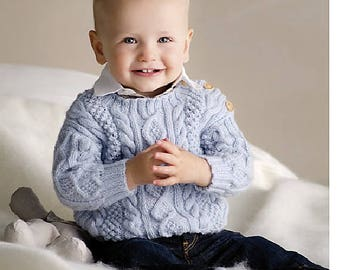 Knitting Pattern PDF - Cable Knit Baby Sweater - birth to 12 months