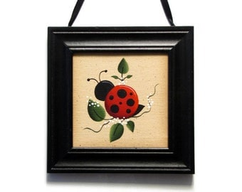 Ladybug Mini Canvas, Black Frame, Handpainted Wall Art, Hand Painted Home Decor, Wall Hanging, Tole Decorative Painting