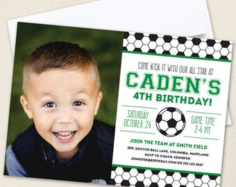 Soccer Party Photo Invitations - Professionally printed *or* DIY printable - Choose green, red, blue or pink