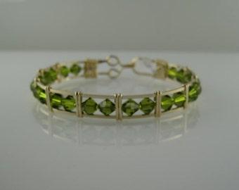 WSB-0211 Handmade Swarovski Crystal Bangle Bracelet Wire Wrapped with 14K Gold Filled Wire