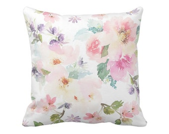 Floral Pillow Cover Watercolor in White