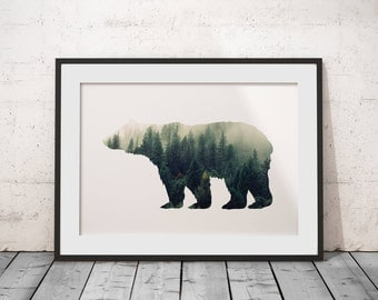 Misty Forest Bear Silhouette Poster Art Print Wall Art Home Decor Print Instant Download Home Decor Nursery Print Printable Illustration