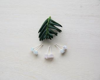 Tiny Stud Earrings/Druzy Pastel Studs/Aquamarine, Rose Quartz, Moonstone Mineral, Crystal Gemstone Studs/ Semiprecious stones