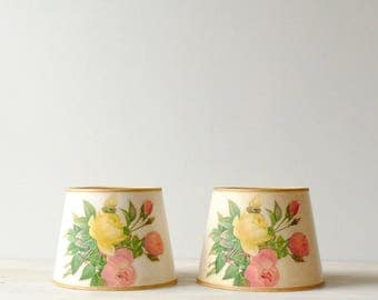 Vintage Floral Lamp Shade Pair, Shabby Chic Clamp Shades