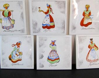 Danish Art Tiles 6 Handpainted Regional Dress Costume Coaster Midcentury MCM 1950s Signed Original Box