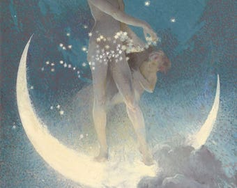 Spring Moon Goddess Tossing Stars Luminous Crescent Nude Woman Vintage 1920s Painting Edwin Blashfield Reprinted as New Photo Quality Print