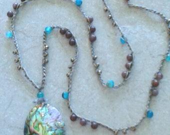 SALE Abalone Crocheted long beaded necklace, Abalone pendant,  beachy, boho blues