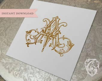 Vintage Wedding Monogram AM MA Digital Download  A M