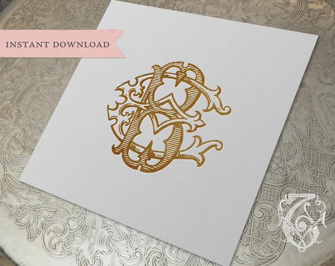 Vintage Wedding Monogram BE EB Digital Download B E