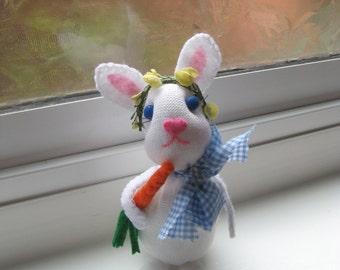 White Rabbit, sock bunny rabbit, easter rabbit, easter accessory, spring decor, shelf-sitter bunny, plush bunny rabbit, baby nursery decor