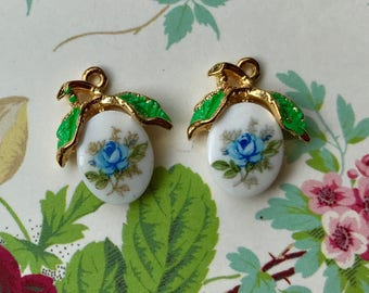 Vintage Charms,Limoges Charms,Enameled Charms,Floral Charms,Glass Drops, Shabby chic Charms, Blue Rose charms, enamel Leaves, #1161G
