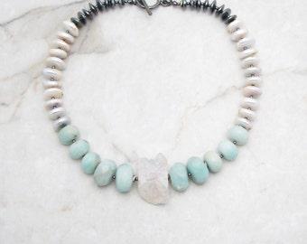 Aura Quartz Necklace. Stone Quartz Necklace. Chunky Stone Pendant. Chunky Boho Necklace. Big Bold Necklace. TaraLynEvans. APRES