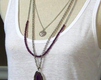 Long multi strand Purple Agate gemstone pendant necklace