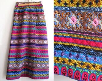 Vintage 60s Maxi Skirt Quilted Purple Pink Blue Gold Alex Coleman Womens S MINT, SALE