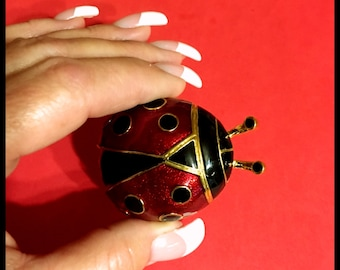Large Lady Bug Brooch, Enameled, Foil, Red, Black,  Vintage 1980's, NOS