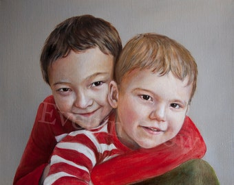 Oil Painting - Custom Portraits from Your Photos - 2 People Portrait - 16x20 inches (Head & Shoulders)